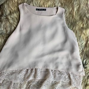 ZARA TAN TANK TOP LACE HEMLINE XS
